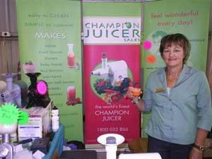 Monica Karger showing her champion juicer machines at Tatiara Talents.